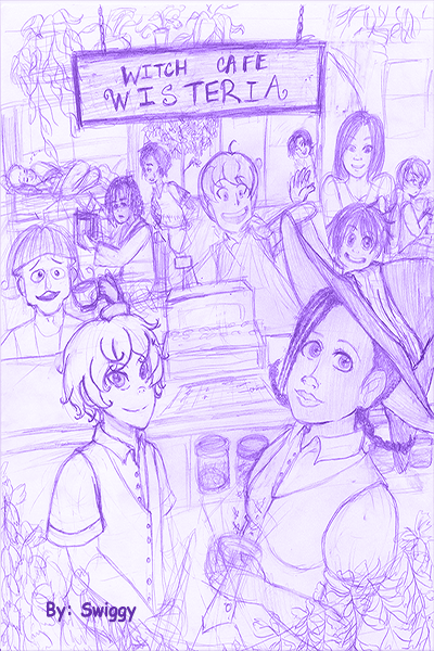 Rough Draft Cover (Witch Cafe Wisteria)
